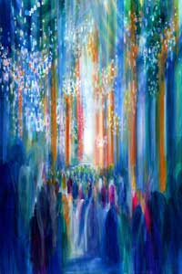 Sanctuary II, painting by Yoram Raanan