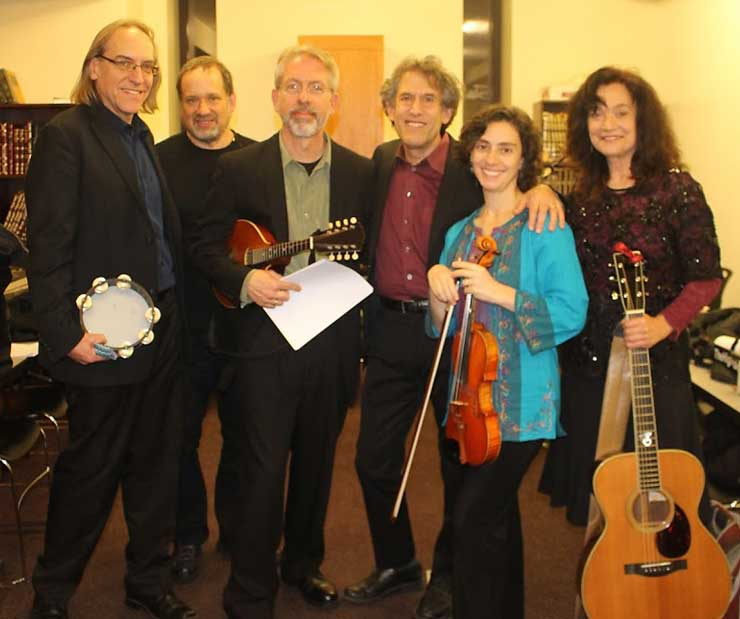 Hadassah Benefit Concert 2015, Rosalie & Friends, from left to right: Grant Smith, David Sparr, Andrew Blickenderfer, Hankus Netsky, Eden MacAdam-Somer, Rosalie Gerut